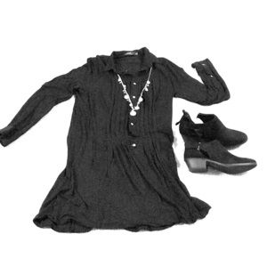 Polo drop waist long sleeve black minidress